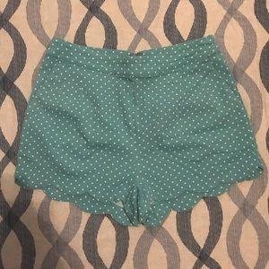 High waisted scallop shorts